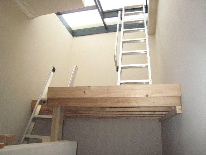 Mezzanine floor with two loft ladders loft e ladder for Ladder project