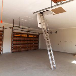 Storage in garage roof accessed by Loft E Ladder